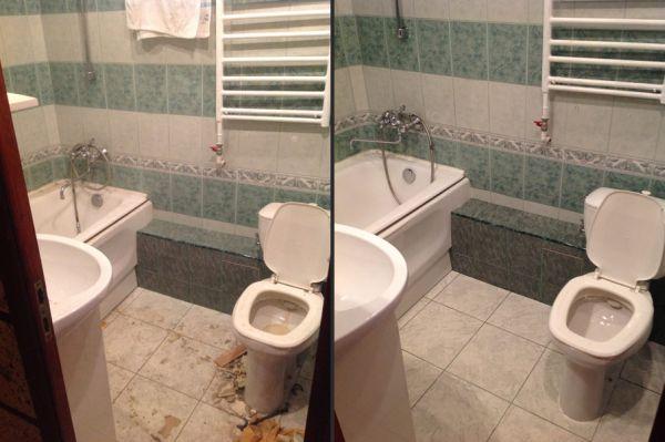 Ванная до и после уборки