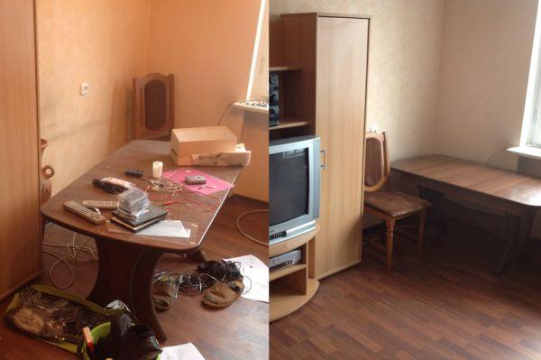 Комната до и после уборки